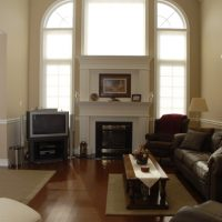 architectural windows around fireplace