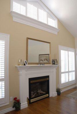 architectural windows around fireplace
